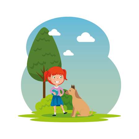 cute little girl with puppy in the camp vector illustration design 版權商用圖片 - 123874302