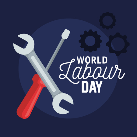 wrench with screwdriver and gears to labour day vector illustration
