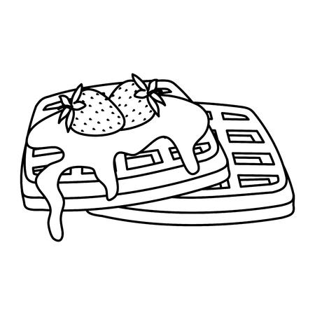 bread toast with chocolate cream and strawberries vector illustration design Standard-Bild - 123874348