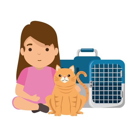 cute little girl with kitty in transport box vector illustration design
