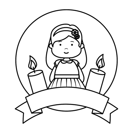 little girl with ribbon and candles first communion vector illustration design
