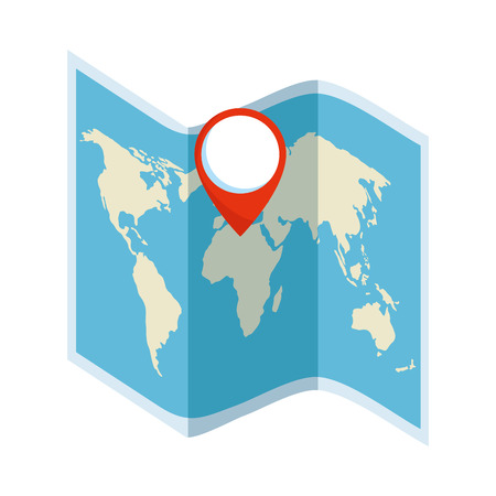 paper map travel with pin location vector illustration design