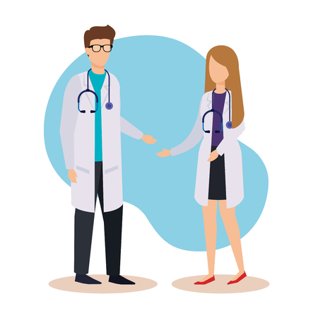 professional man and woman doctors with stethoscope vector illustration Illustration