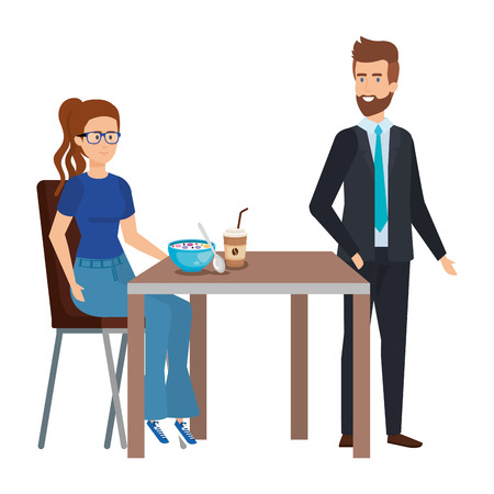 young couple eating in table characters vector illustration design Vectores
