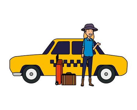 tourist woman with paper map and suitcase and hat vector illustration design Standard-Bild - 123817179