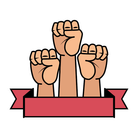 hands up fists icons vector illustration design