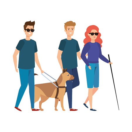 blind woman with helper and guide dog vector illustration design Ilustração