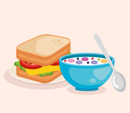 cereal with spoon and delicious sandwich breakfast vector illustration Çizim