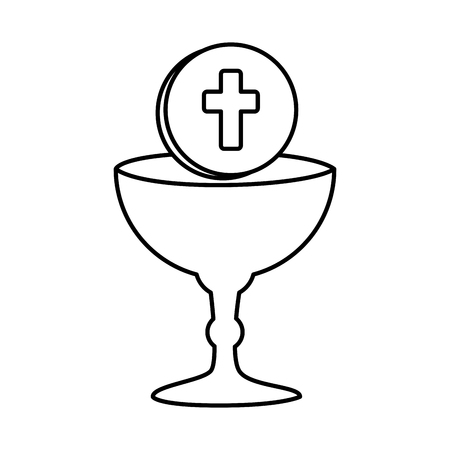 first communion in chalice vector illustration design