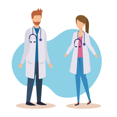 professional doctors with stethoscope and medicine service vector illustration