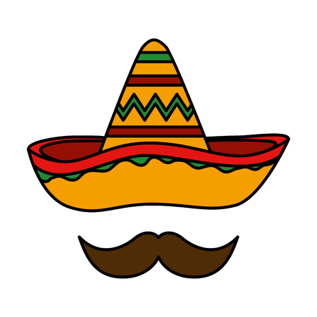 mexican hat mariachi with mustache vector illustration design Illusztráció