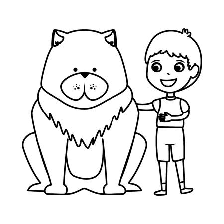 cute little boy with dog character vector illustration design Иллюстрация