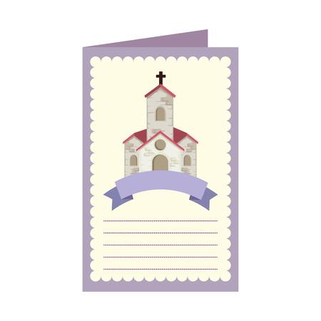 postcard with church facade building vector illustration design Stock Illustratie