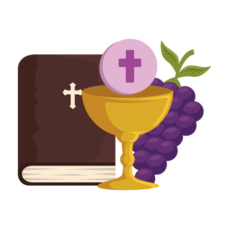 holy bible with chalice and grapes vector illustration design Foto de archivo - 120488011