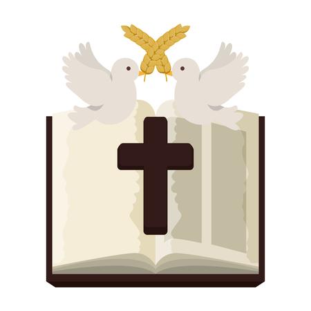 Sainte bible avec croix en bois vector illustration design