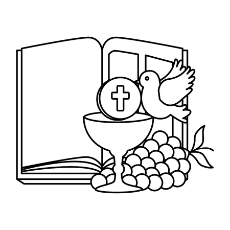 holy bible with chalice and grapes vector illustration design Foto de archivo - 120488016