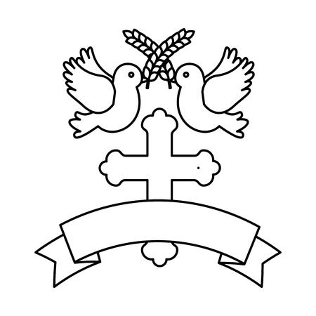 first communion wooden cross with doves vector illustration design Foto de archivo - 120488018