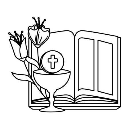 holy bible with chalice and flowers vector illustration design Foto de archivo - 120488020