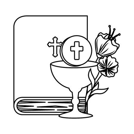 holy bible with chalice and flowers vector illustration design