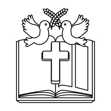 heilige bijbel met houten kruis vectorillustratieontwerp