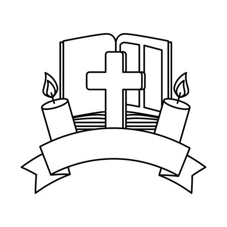 Santa Biblia con cruz y vela, diseño de ilustraciones vectoriales