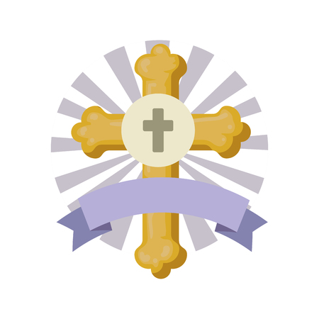 first communion cross with ribbon frame vector illustration design Ilustração