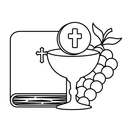 heilige bijbel met kelk en druiven vectorillustratieontwerp