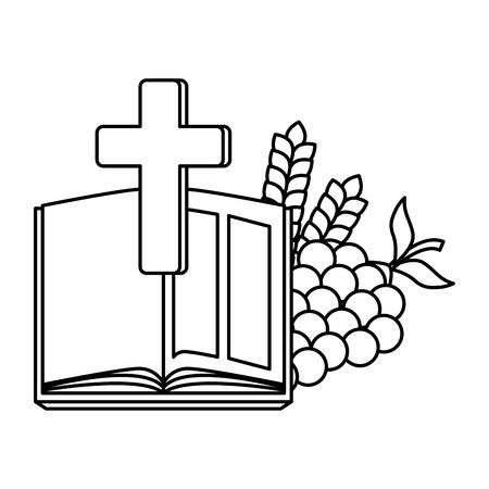 Santa Biblia con cruz y uvas, diseño de ilustraciones vectoriales