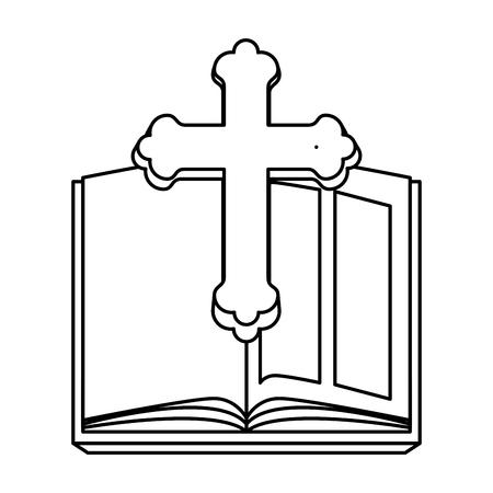 Sainte bible avec croix en bois vector illustration design Vecteurs
