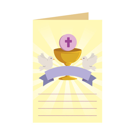 postcard with first communion in chalice vector illustration design