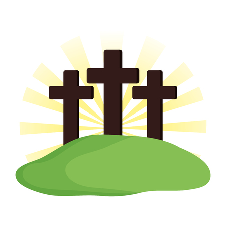 Mount Calvary scene icon vector illustration design