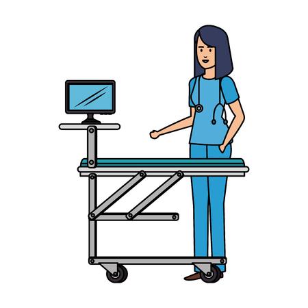 female surgeon with monitor in stretcher vector illustration design Stock Illustratie