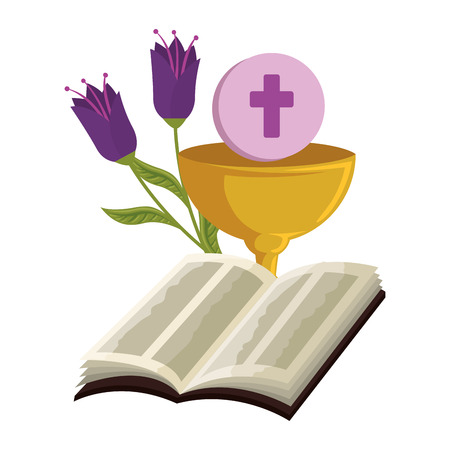 holy bible with chalice and flowers vector illustration design Foto de archivo - 120488198