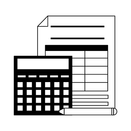 tax payment document with calculator and pen vector illustration Archivio Fotografico - 120488316