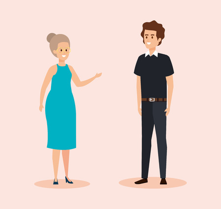 woman wearing elegant dress and man with hairstyle vector illustration