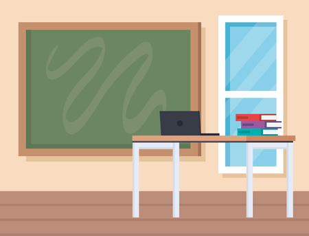 education classroom with laptop and books in the desk vector illustration