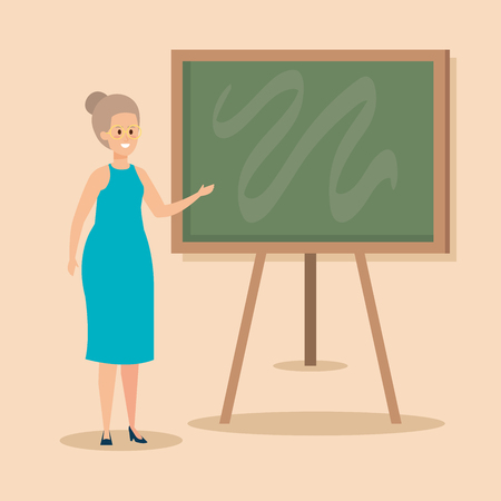 woman teacher with blackboard and elegant clothes vector illustration