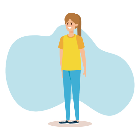 happy woman with hairstyle and casual clothes vector illustration 일러스트