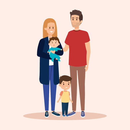 woman and man with sons and casual clothes vector illustration