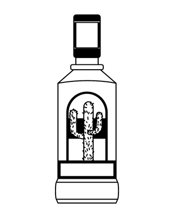tequila bottle liquor on white background vector illustration  イラスト・ベクター素材