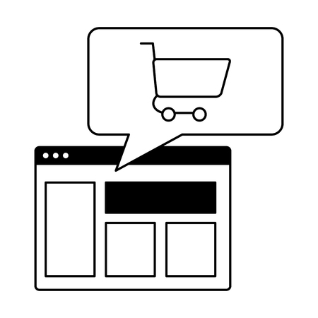 online shopping cart website message vector illustration