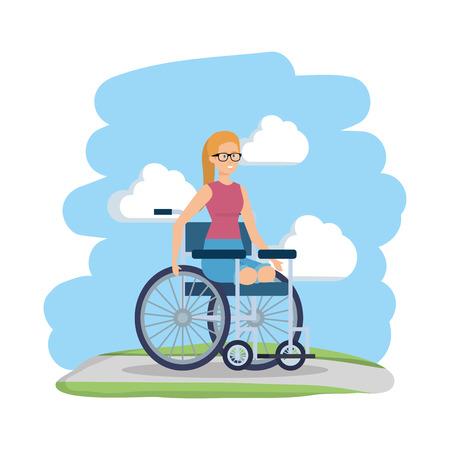 young woman in wheelchair vector illustration design Foto de archivo - 123650704