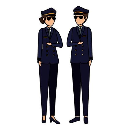 aviation pilots couple avatars characters vector illustration design Illustration