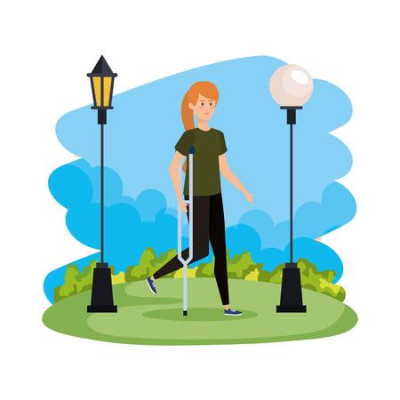 woman in crutch character vector illustration design Illusztráció