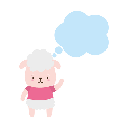 cute sheep cartoon speech bubble vector illustration design