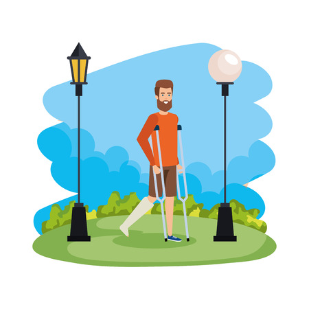 man in crutches character vector illustration design Foto de archivo - 123650832