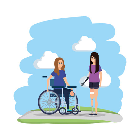 young woman in wheelchair with female helper vector illustration design