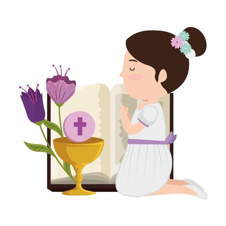 klein knielend meisje met bijbel en bloemen eerste communie vectorillustratieontwerp