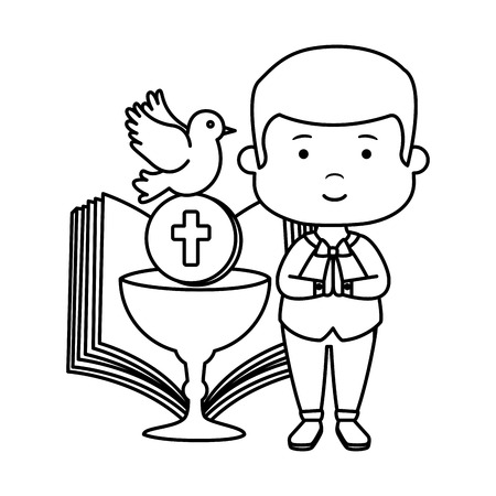 little boy with bible and chalice first communion vector illustration design