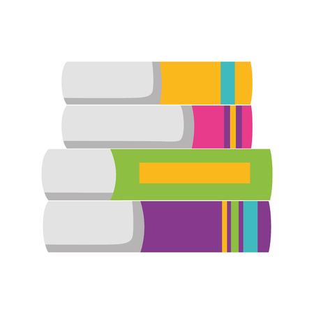 books stacked school supplies vector illustration design